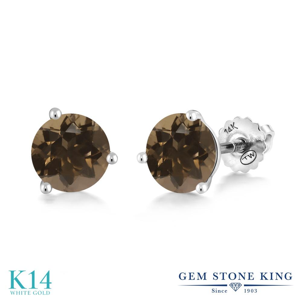 Gem Stone King 1.6カラット 天然 スモーキークォーツ (ブラウン) 14金 ホワイトゴールド(K14) ピアス レディース シンプル スタッド スクリュー 天然石 金属アレルギー対応 誕生日プレゼント