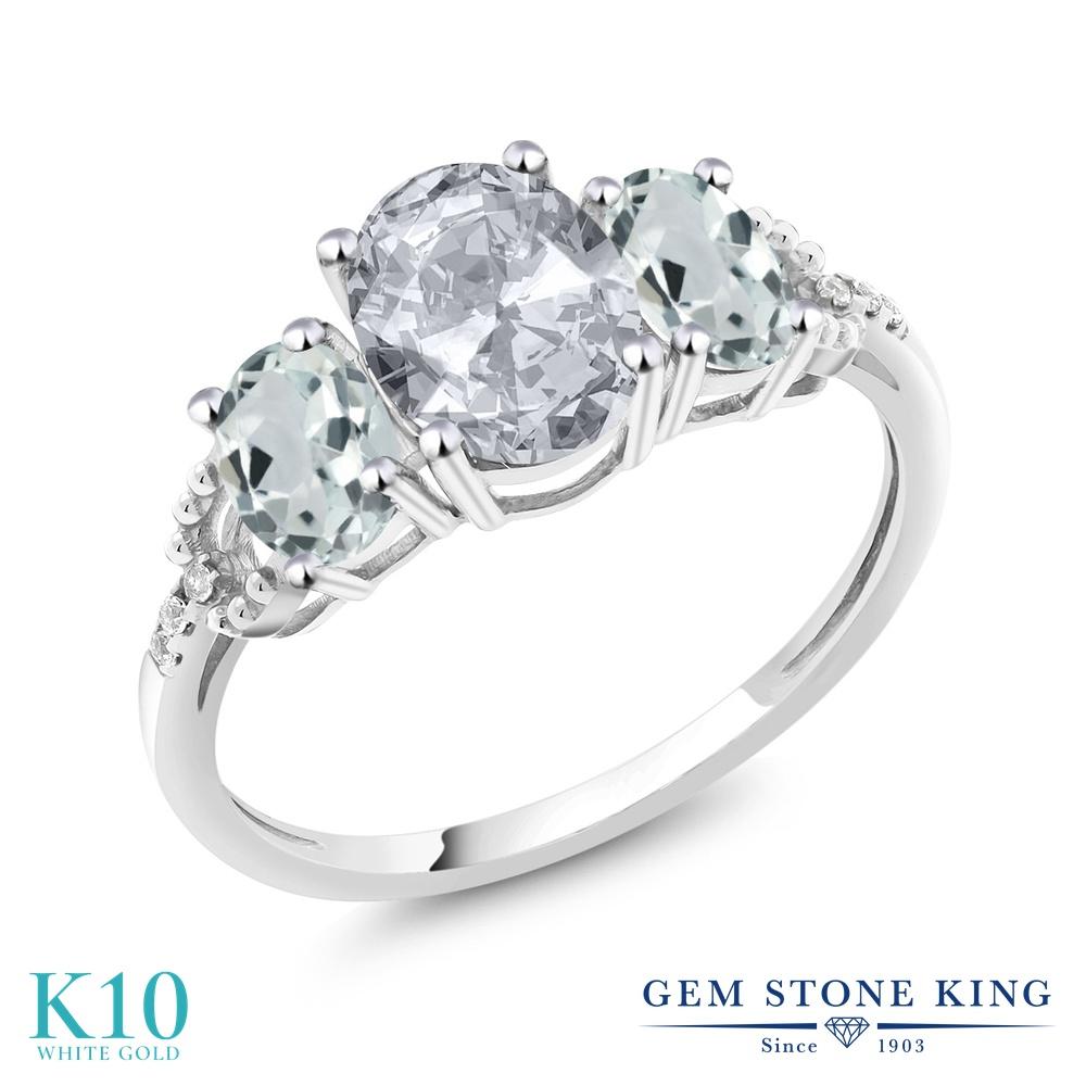 Gem Stone King 2.21カラット 天然 トパーズ (無色透明) 天然 アクアマリン 天然 ダイヤモンド 10金 ホワイトゴールド(K10) 指輪 リング レディース 大粒 スリーストーン 天然石 11月 誕生石 金属アレルギー対応 婚約指輪 エンゲージリング