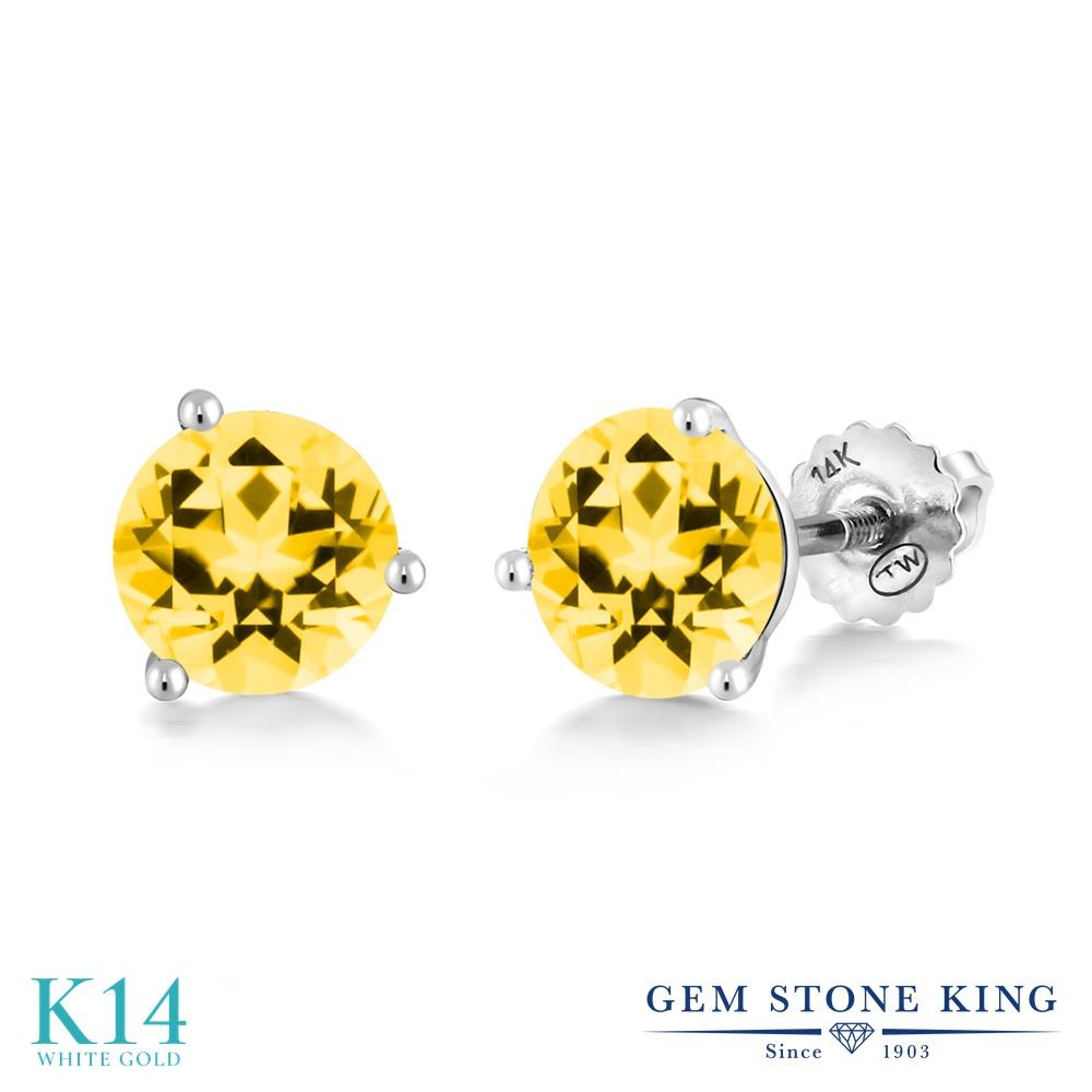 Gem Stone King 2カラット 天然石 トパーズ ハニースワロフスキー 14金 ホワイトゴールド(K14) ピアス レディース 大粒 シンプル スタッド スクリュー 天然石 金属アレルギー対応 誕生日プレゼント