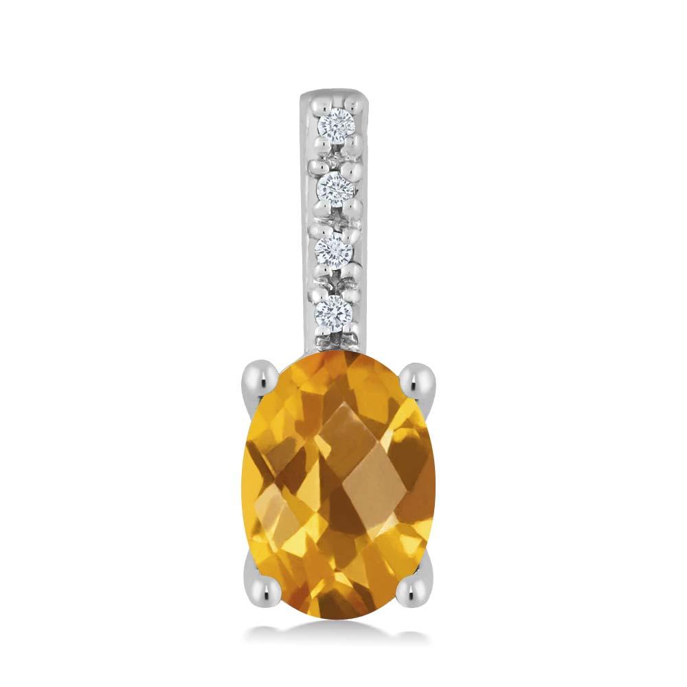 Gem Stone King 0.72カラット 天然シトリン 14金 ホワイトゴールド(K14) 天然ダイヤモンド ネックレス ペンダント