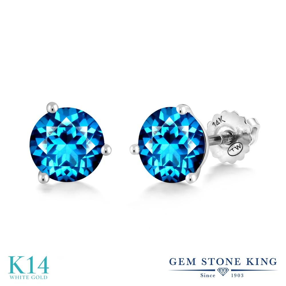 Gem Stone King 2カラット 天然石 カシミアブルートパーズ (スワロフスキー 天然石シリーズ) 14金 ホワイトゴールド(K14) ピアス レディース 大粒 シンプル スタッド スクリュー 天然石 金属アレルギー対応 誕生日プレゼント