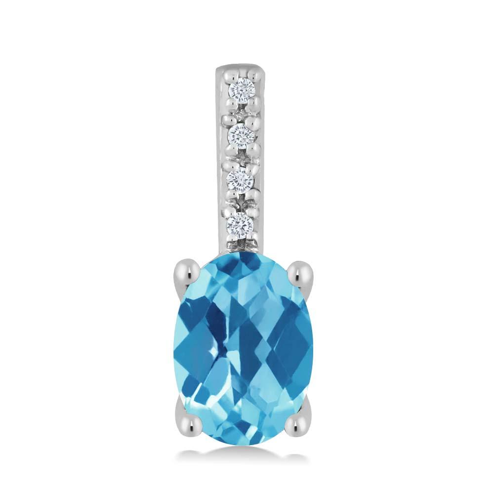 Gem Stone King 0.97カラット 天然トパーズ(スイスブルー) 14金 ホワイトゴールド(K14) 天然ダイヤモンド ネックレス ペンダント