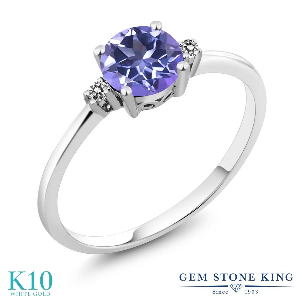 Gem Stone King 1.03カラット 天然 ミスティックトパーズ (タンザナイトブルー) 天然 ダイヤモンド 10金 ホワイトゴールド(K10) 指輪 リング レディース 大粒 一粒 シンプル ソリティア 天然石 金属アレルギー対応 婚約指輪 エンゲージリング