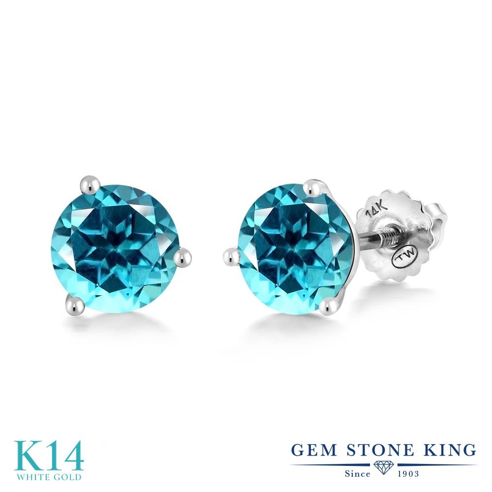 Gem Stone King 2カラット 天然石 パライバトパーズ (スワロフスキー 天然石シリーズ) 14金 ホワイトゴールド(K14) ピアス レディース 大粒 シンプル スタッド スクリュー 天然石 金属アレルギー対応 誕生日プレゼント