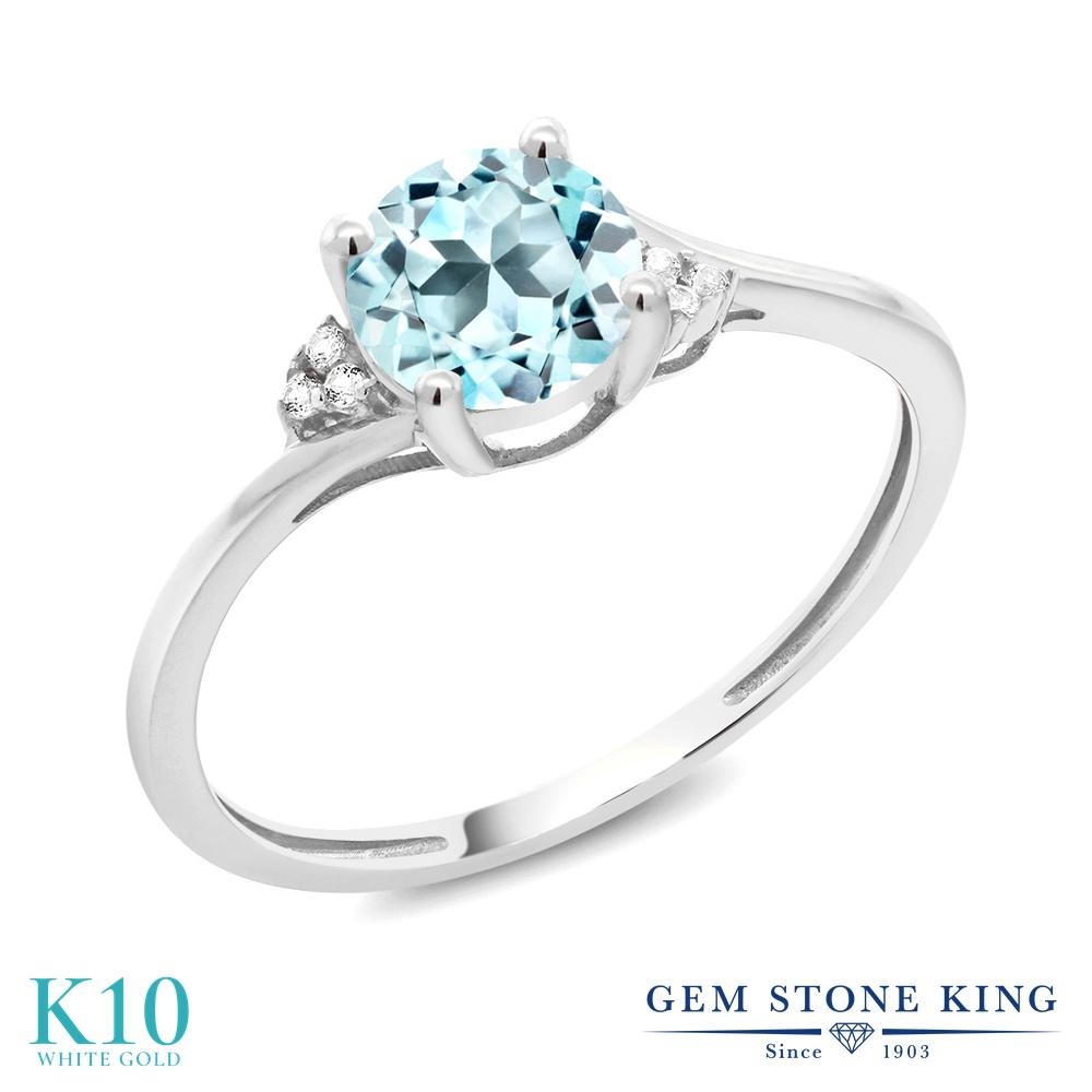 Gem Stone King 0.94カラット 天然トパーズ(スカイブルー) 10金 ホワイトゴールド(K10) 天然ダイヤモンド 指輪 リング
