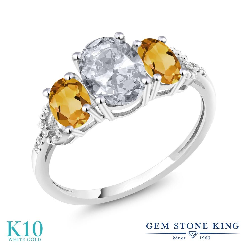 Gem Stone King 2.15カラット 天然 トパーズ (無色透明) 天然 シトリン 天然 ダイヤモンド 10金 ホワイトゴールド(K10) 指輪 リング レディース 大粒 スリーストーン 天然石 11月 誕生石 金属アレルギー対応 婚約指輪 エンゲージリング