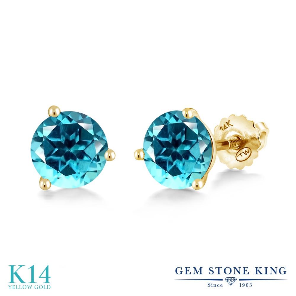 Gem Stone King 2カラット 天然石 パライバトパーズ (スワロフスキー 天然石シリーズ) 14金 イエローゴールド(K14) ピアス レディース 大粒 シンプル スタッド スクリュー 天然石 金属アレルギー対応 誕生日プレゼント