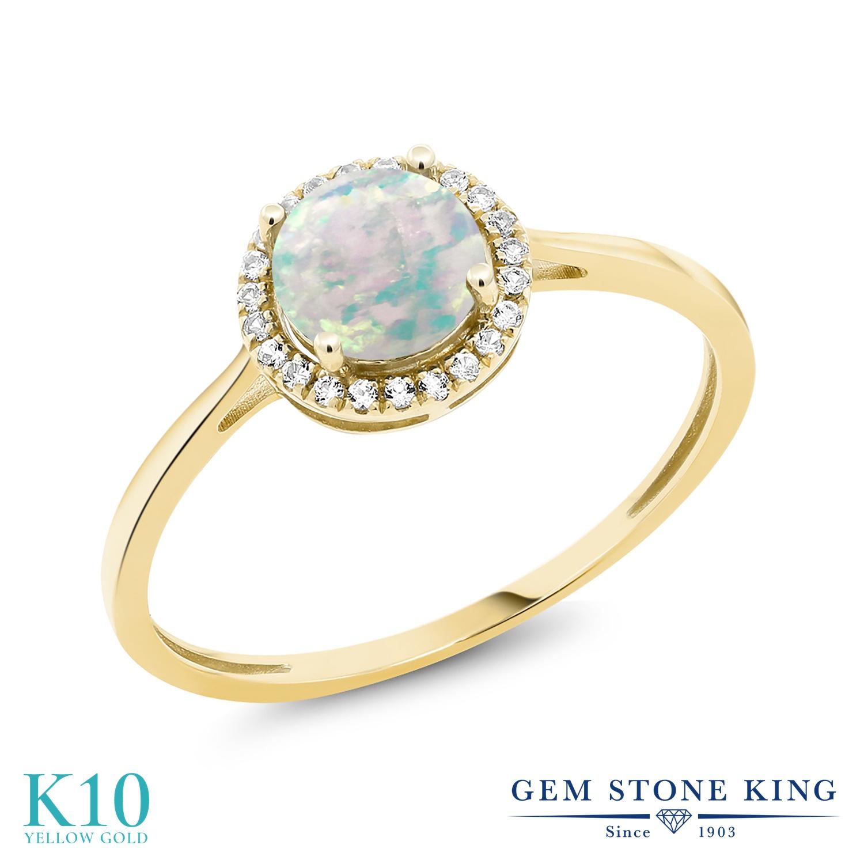 Gem Stone King 1.22カラット シミュレイテッド ホワイトオパール 天然 ダイヤモンド 10金 イエローゴールド(K10) 指輪 リング レディース 大粒 ヘイロー 10月 誕生石 金属アレルギー対応 誕生日プレゼント