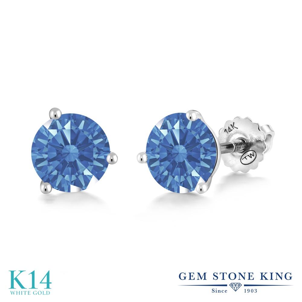 Gem Stone King スワロフスキージルコニア (ファンシーブルー) 14金 ホワイトゴールド(K14) ピアス レディース CZ シンプル スタッド スクリュー 金属アレルギー対応 誕生日プレゼント