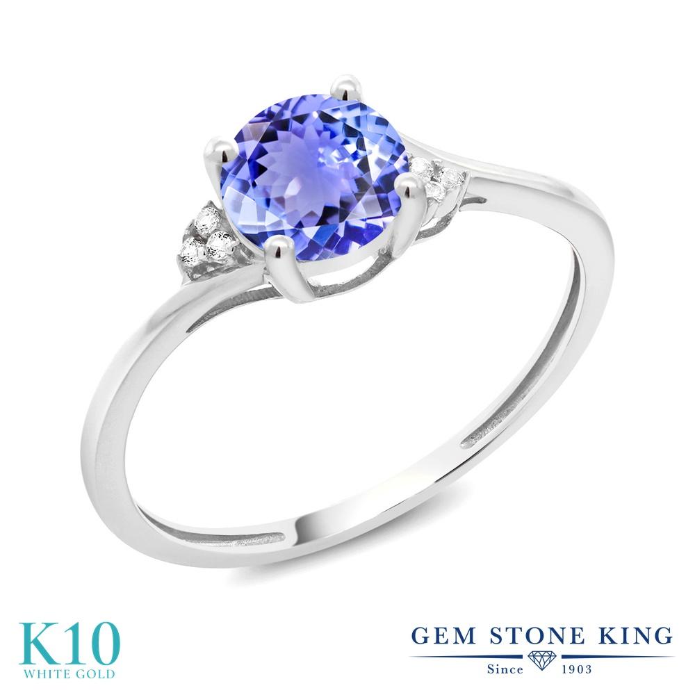 Gem Stone King 0.94カラット 天然石 タンザナイト 10金 ホワイトゴールド(K10) 天然ダイヤモンド 指輪 リング