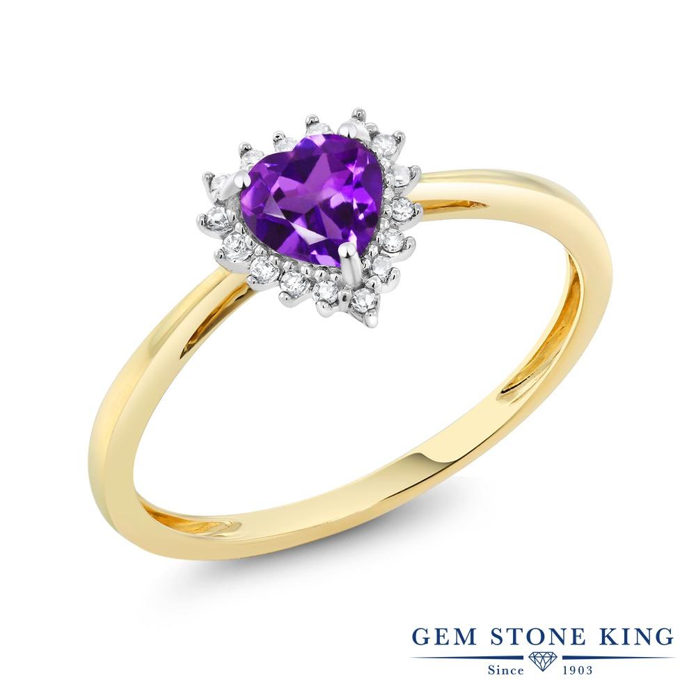【10%OFF】 Gem Stone King 0.4カラット 天然 アメジスト ダイヤモンド 指輪 リング レディース 10金 Two Toneゴールド K10 アメシスト 小粒 ヘイロー 天然石 2月 誕生石 クリスマスプレゼント 女性 彼女 妻 誕生日