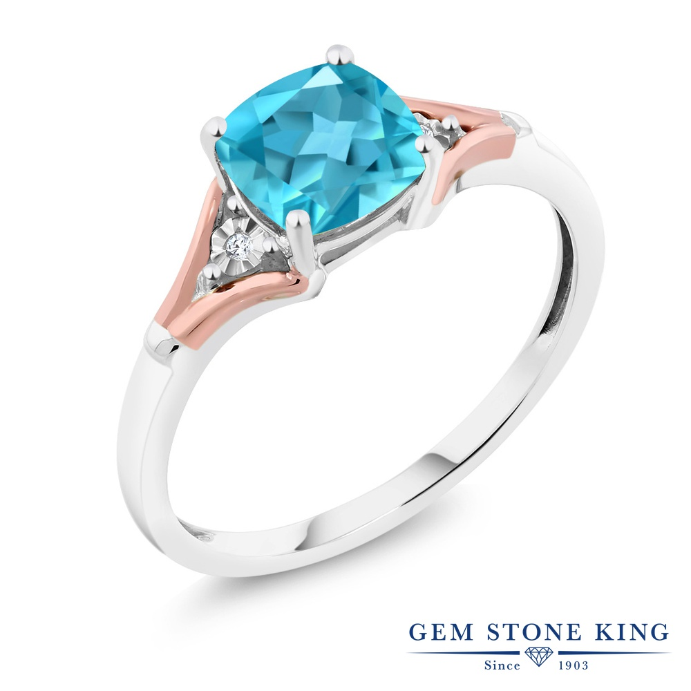 【10%OFF】 Gem Stone King 1.85カラット 天然 スイスブルートパーズ ダイヤモンド 指輪 リング レディース 10金 Two Toneゴールド K10 大粒 一粒 シンプル ソリティア 天然石 11月 誕生石 クリスマスプレゼント 女性 彼女 妻 誕生日