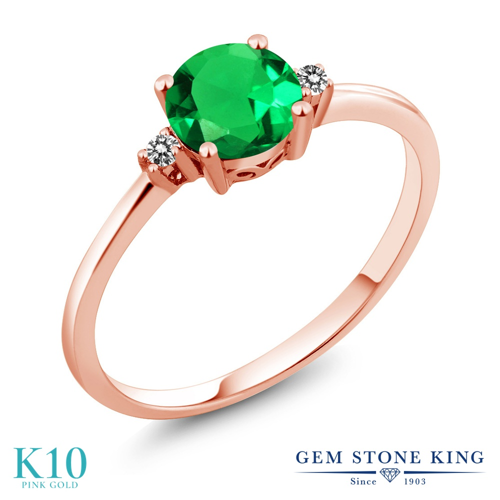 Gem Stone King 0.8カラット ナノエメラルド 天然 ダイヤモンド 10金 ピンクゴールド(K10) 指輪 リング レディース 一粒 シンプル ソリティア 金属アレルギー対応 婚約指輪 エンゲージリング