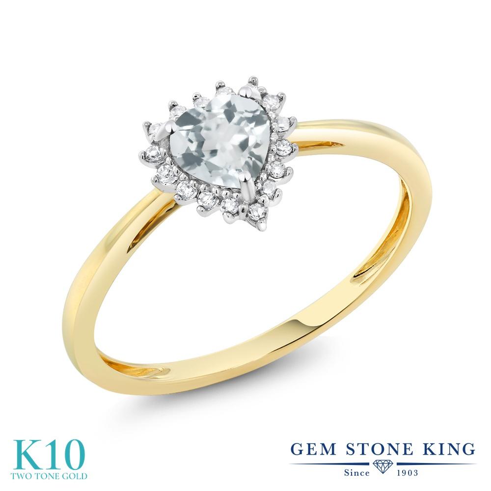 【10%OFF】 Gem Stone King 0.38カラット 天然 アクアマリン ダイヤモンド 指輪 リング レディース 10金 Two Toneゴールド K10 小粒 ヘイロー 天然石 3月 誕生石 クリスマスプレゼント 女性 彼女 妻 誕生日