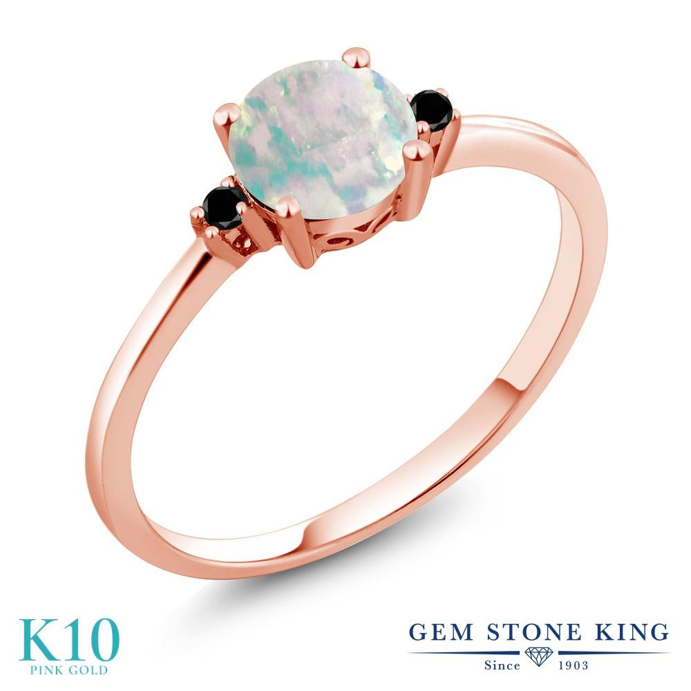 Gem Stone King 0.33カラット シミュレイテッド ホワイトオパール 天然ブラックダイヤモンド 10金 ピンクゴールド(K10) 指輪 リング レディース 小粒 一粒 シンプル ソリティア 10月 誕生石 金属アレルギー対応 婚約指輪 エンゲージリング