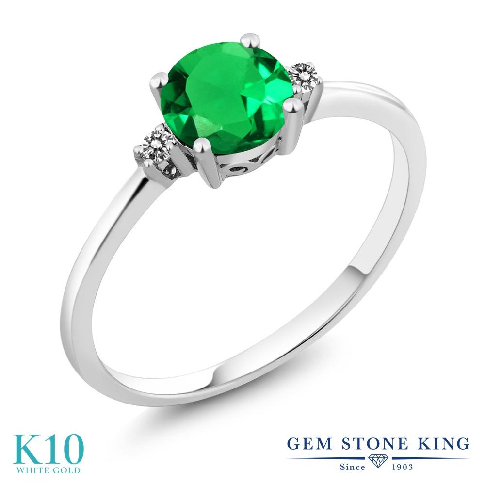 【10%OFF】 Gem Stone King 0.8カラット ナノエメラルド 天然 ダイヤモンド 指輪 リング レディース 10金 ホワイトゴールド K10 シンプル ソリティア クリスマスプレゼント 女性 彼女 妻 誕生日