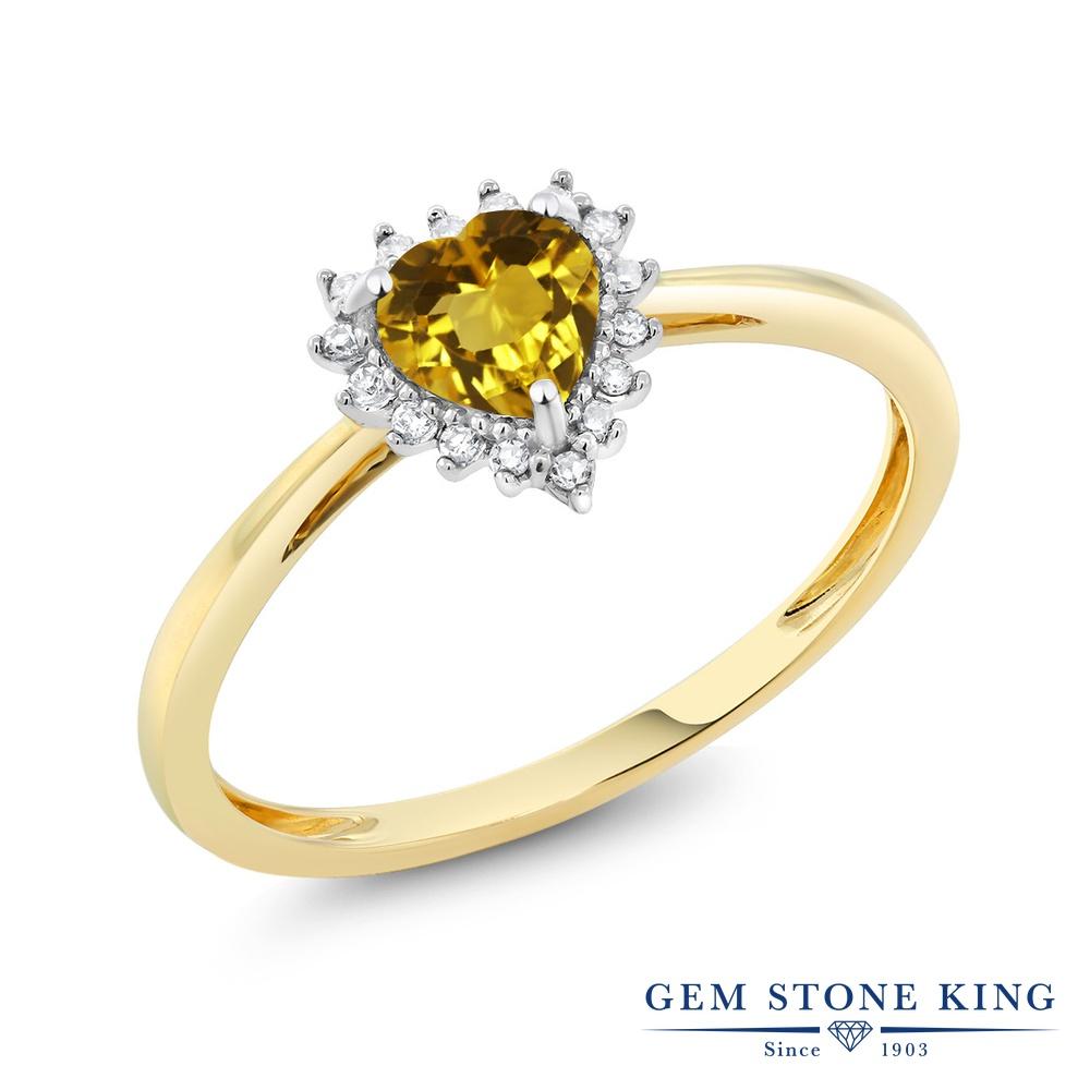 【10%OFF】 Gem Stone King 0.46カラット 天然 シトリン ダイヤモンド 指輪 リング レディース 10金 Two Toneゴールド K10 小粒 ヘイロー 天然石 11月 誕生石 クリスマスプレゼント 女性 彼女 妻 誕生日