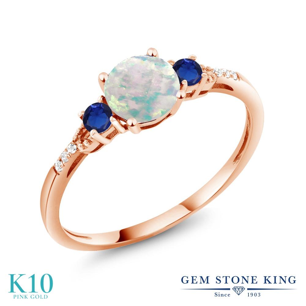Gem Stone King 0.95カラット シミュレイテッド ホワイトオパール 天然 ダイヤモンド 10金 ピンクゴールド(K10) 指輪 リング レディース マルチストーン 10月 誕生石 金属アレルギー対応 誕生日プレゼント