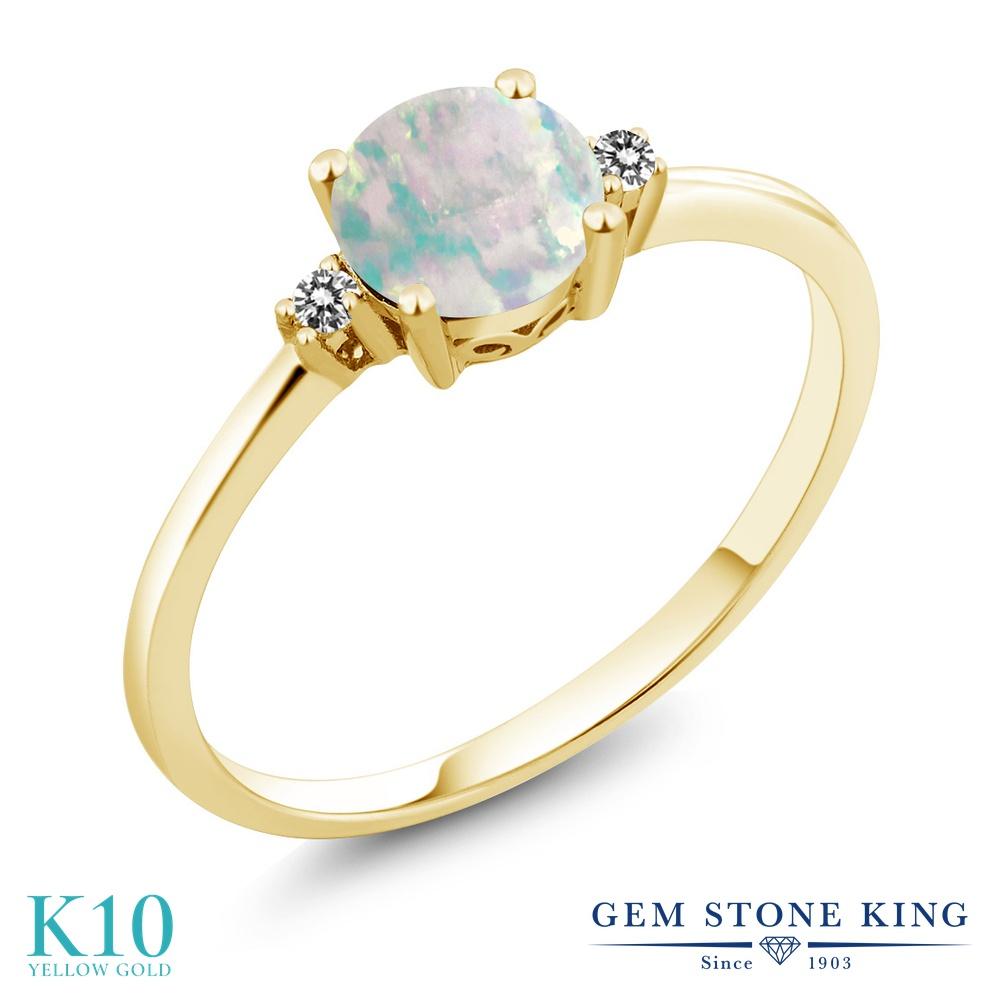【10%OFF】 Gem Stone King 0.33カラット シミュレイテッド ホワイトオパール 天然 ダイヤモンド 指輪 リング レディース 10金 イエローゴールド K10 小粒 シンプル ソリティア 10月 誕生石 クリスマスプレゼント 女性 彼女 妻 誕生日