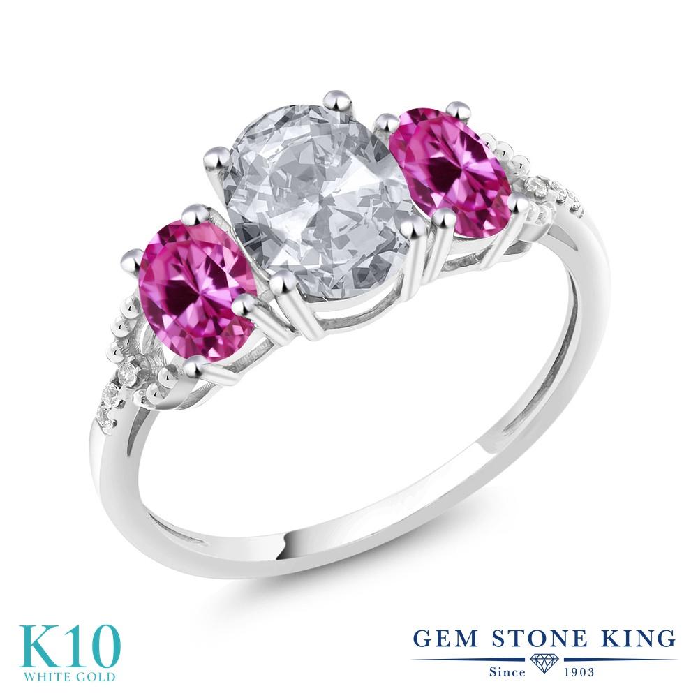Gem Stone King 2.35カラット 天然 トパーズ (無色透明) 合成ピンクサファイア 天然 ダイヤモンド 10金 ホワイトゴールド(K10) 指輪 リング レディース 大粒 スリーストーン 天然石 11月 誕生石 金属アレルギー対応 婚約指輪 エンゲージリング