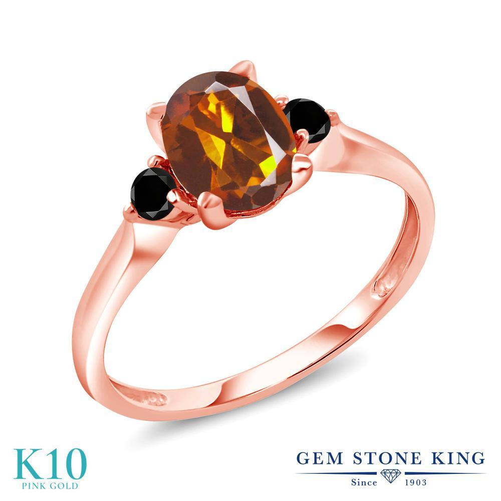 Gem Stone King 1.23カラット 天然 マデイラシトリン (オレンジレッド) 天然ブラックダイヤモンド 10金 ピンクゴールド(K10) 指輪 リング レディース 大粒 シンプル スリーストーン 天然石 金属アレルギー対応 誕生日プレゼント