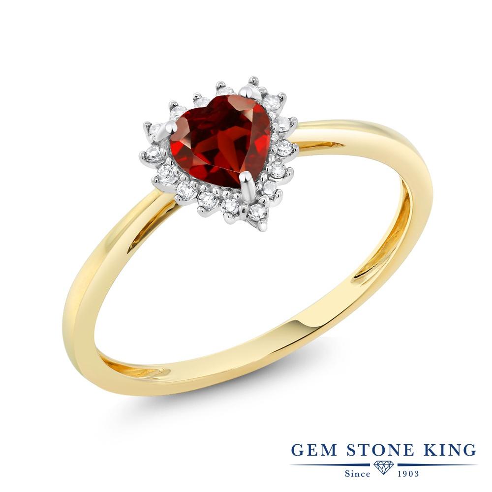 Gem Stone King 0.55カラット 天然 ガーネット 天然 ダイヤモンド 10金 Two Toneゴールド(K10) 指輪 リング レディース ヘイロー 天然石 1月 誕生石 金属アレルギー対応 誕生日プレゼント