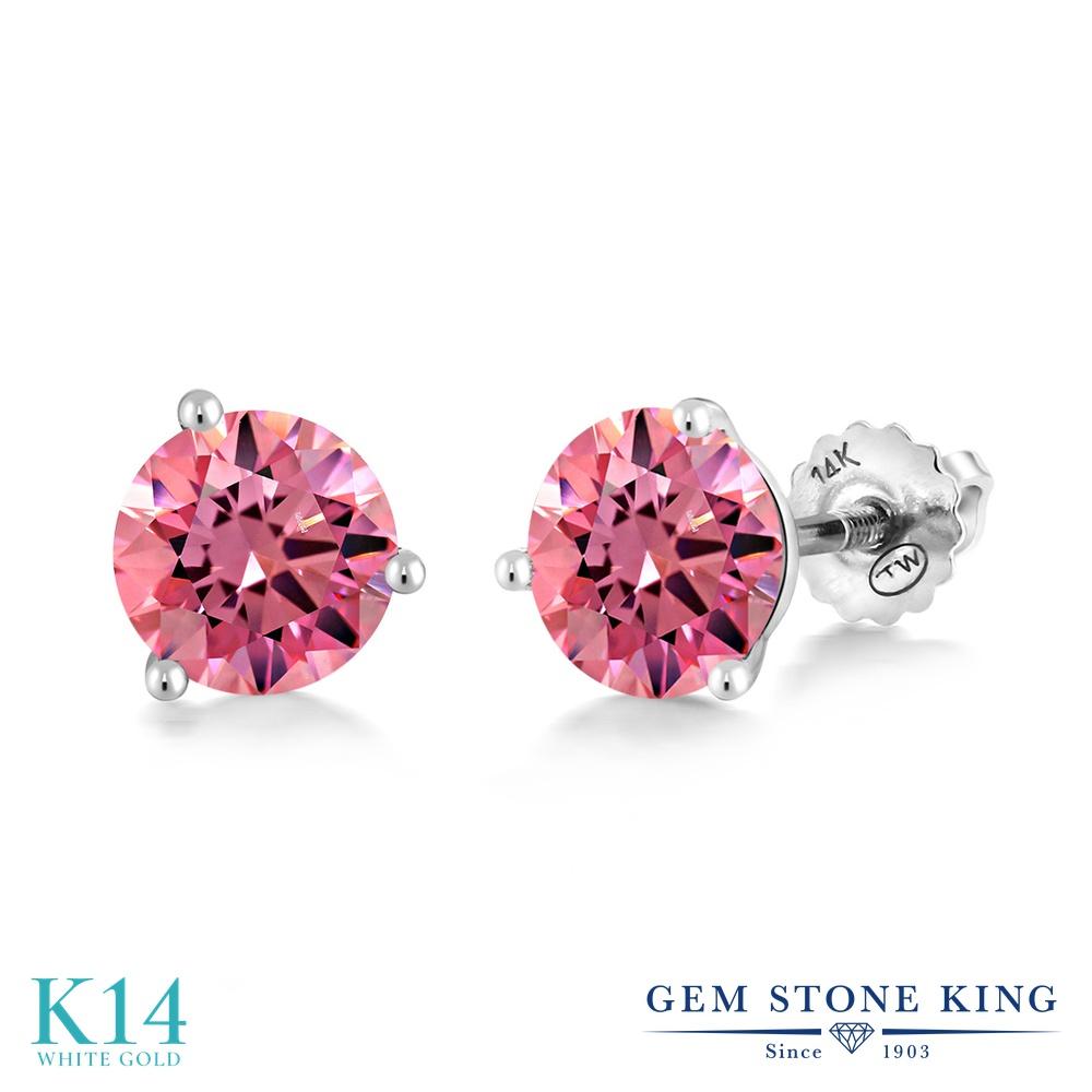 Gem Stone King スワロフスキージルコニア (ファンシーピンク) 14金 ホワイトゴールド(K14) ピアス レディース CZ シンプル スタッド スクリュー 金属アレルギー対応 誕生日プレゼント