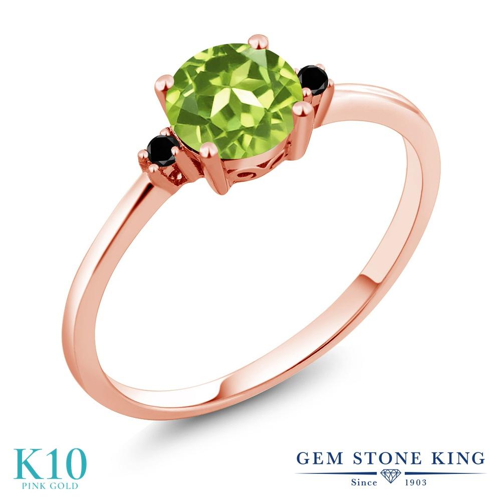 Gem Stone King 0.88カラット 天然石 ペリドット 天然ブラックダイヤモンド 10金 ピンクゴールド(K10) 指輪 リング レディース 一粒 シンプル ソリティア 天然石 8月 誕生石 金属アレルギー対応 婚約指輪 エンゲージリング