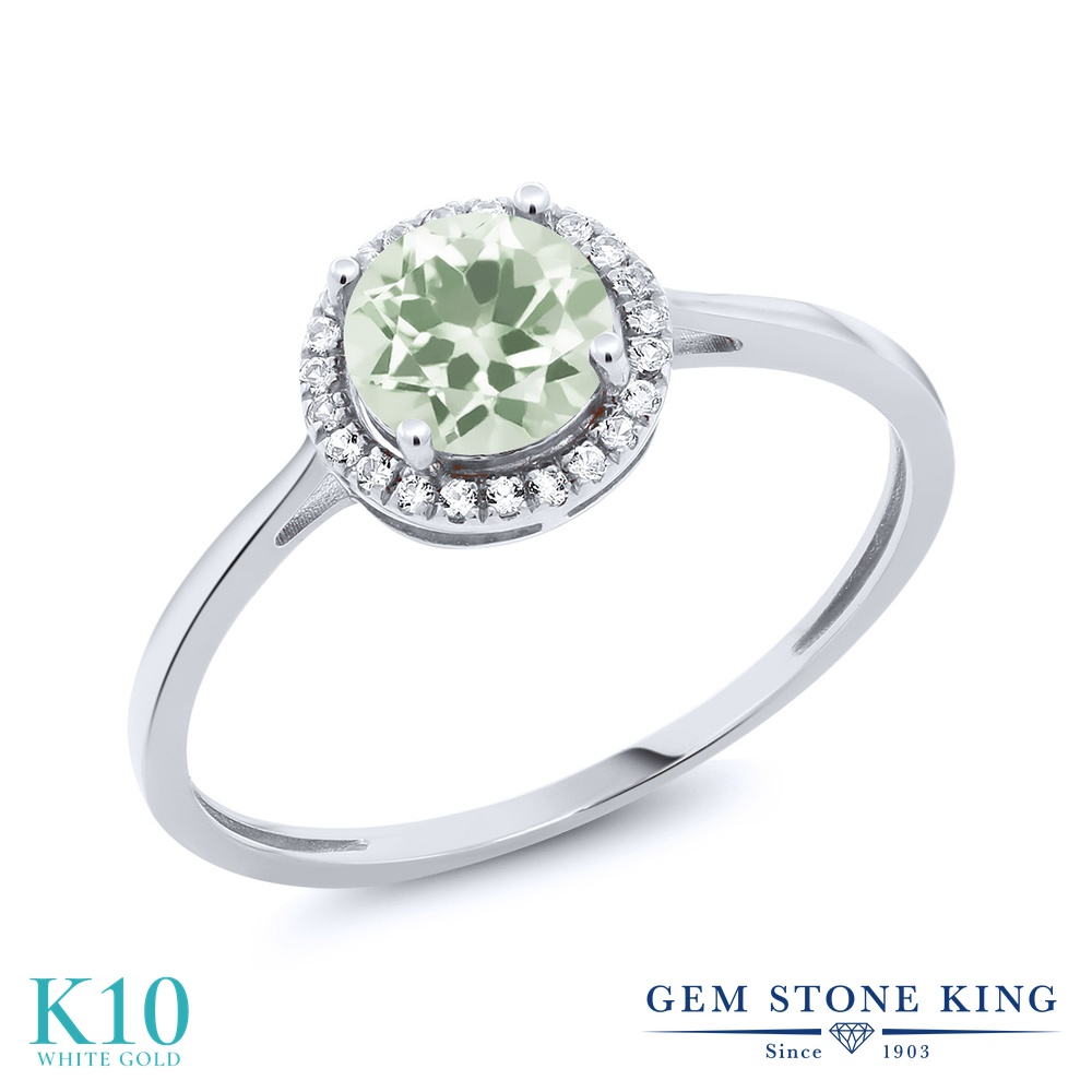 Gem Stone King 1.17カラット 天然 プラジオライト (グリーンアメジスト) 天然 ダイヤモンド 10金 ホワイトゴールド(K10) 指輪 リング レディース ヘイロー 天然石 金属アレルギー対応 婚約指輪 エンゲージリング