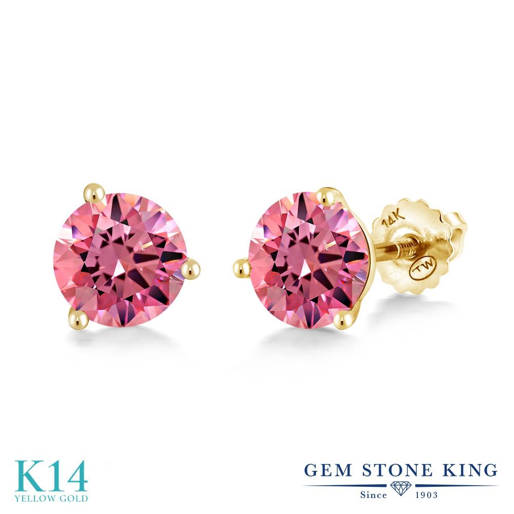 Gem Stone King スワロフスキージルコニア (ファンシーピンク) 14金 イエローゴールド(K14) ピアス レディース CZ シンプル スタッド スクリュー 金属アレルギー対応 誕生日プレゼント