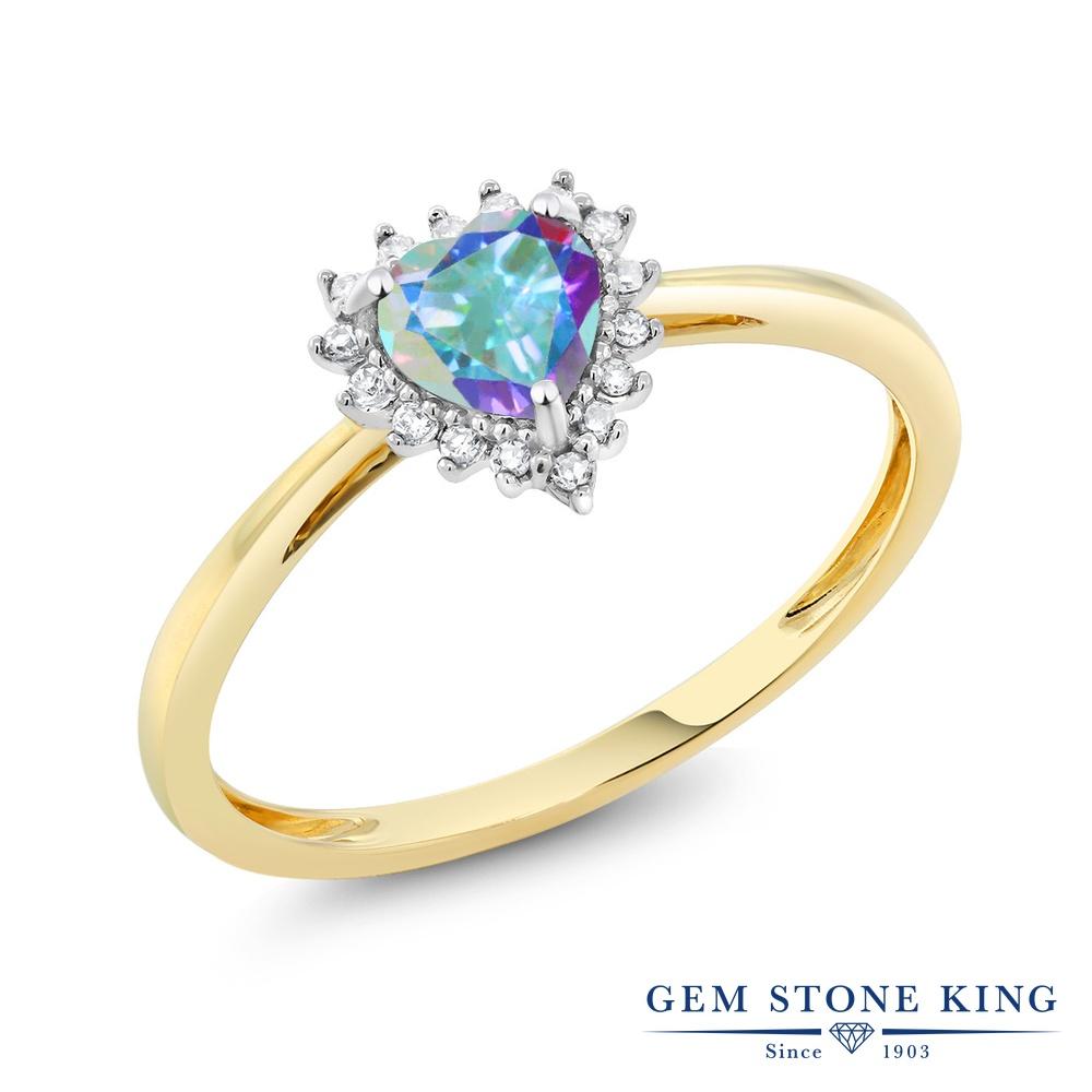 【10%OFF】 Gem Stone King 0.56カラット 天然石 ミスティックトパーズ (マーキュリーミスト) 天然 ダイヤモンド 指輪 リング レディース 10金 Two Toneゴールド K10 ヘイロー クリスマスプレゼント 女性 彼女 妻 誕生日
