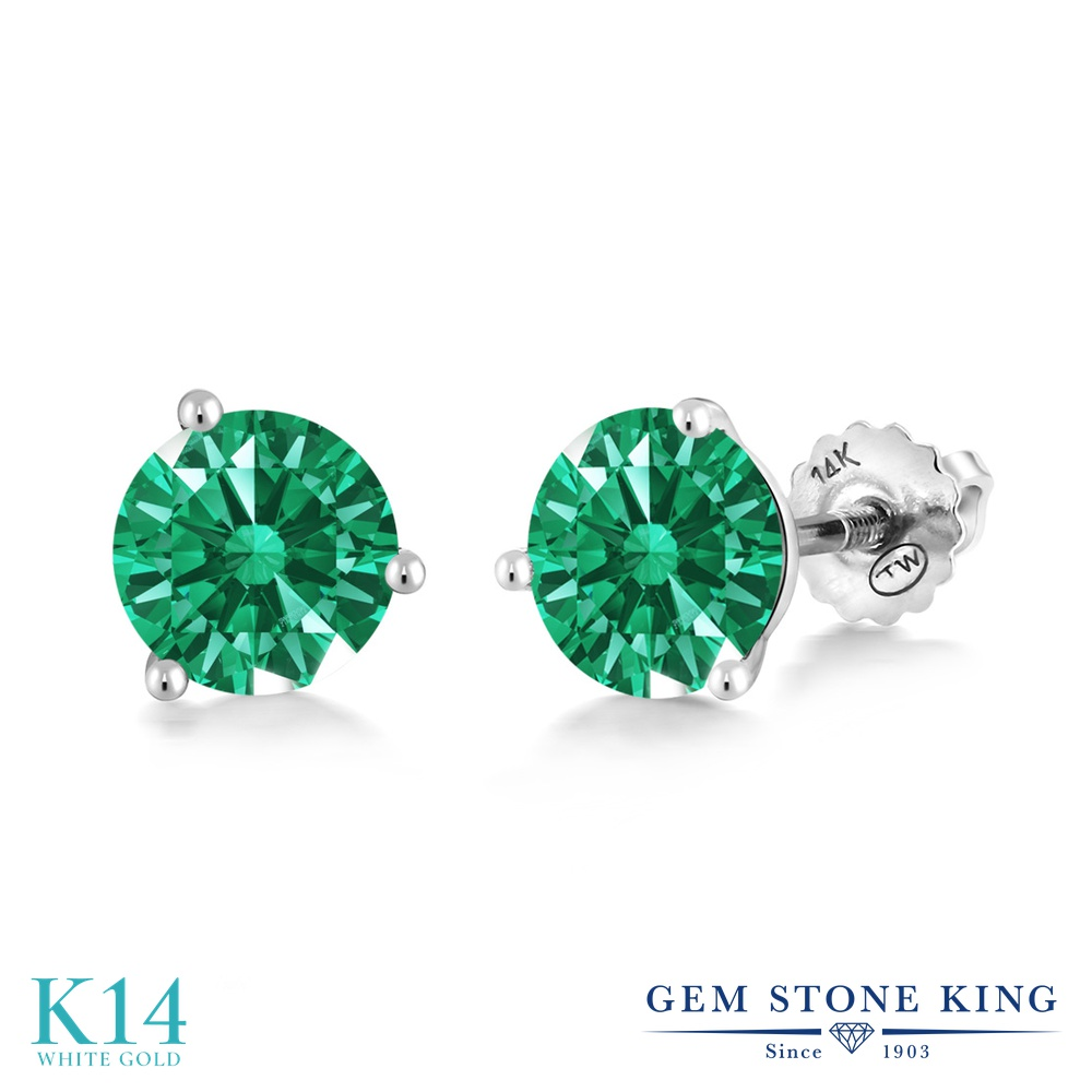 Gem Stone King スワロフスキージルコニア (グリーン) 14金 ホワイトゴールド(K14) ピアス レディース CZ シンプル スタッド スクリュー 金属アレルギー対応 誕生日プレゼント