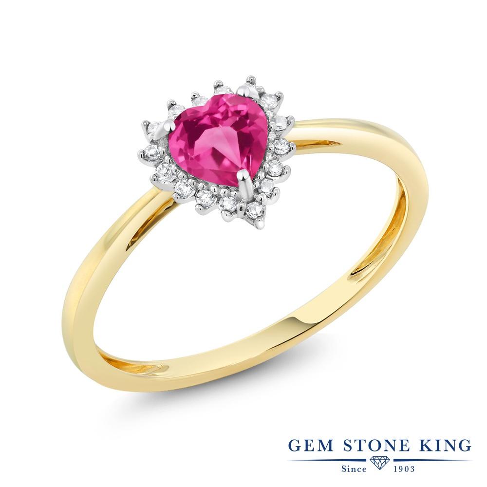 【10%OFF】 Gem Stone King 0.6カラット 天然 ミスティックトパーズ (ピンク) ダイヤモンド 指輪 リング レディース 10金 Two Toneゴールド K10 ヘイロー 天然石 クリスマスプレゼント 女性 彼女 妻 誕生日