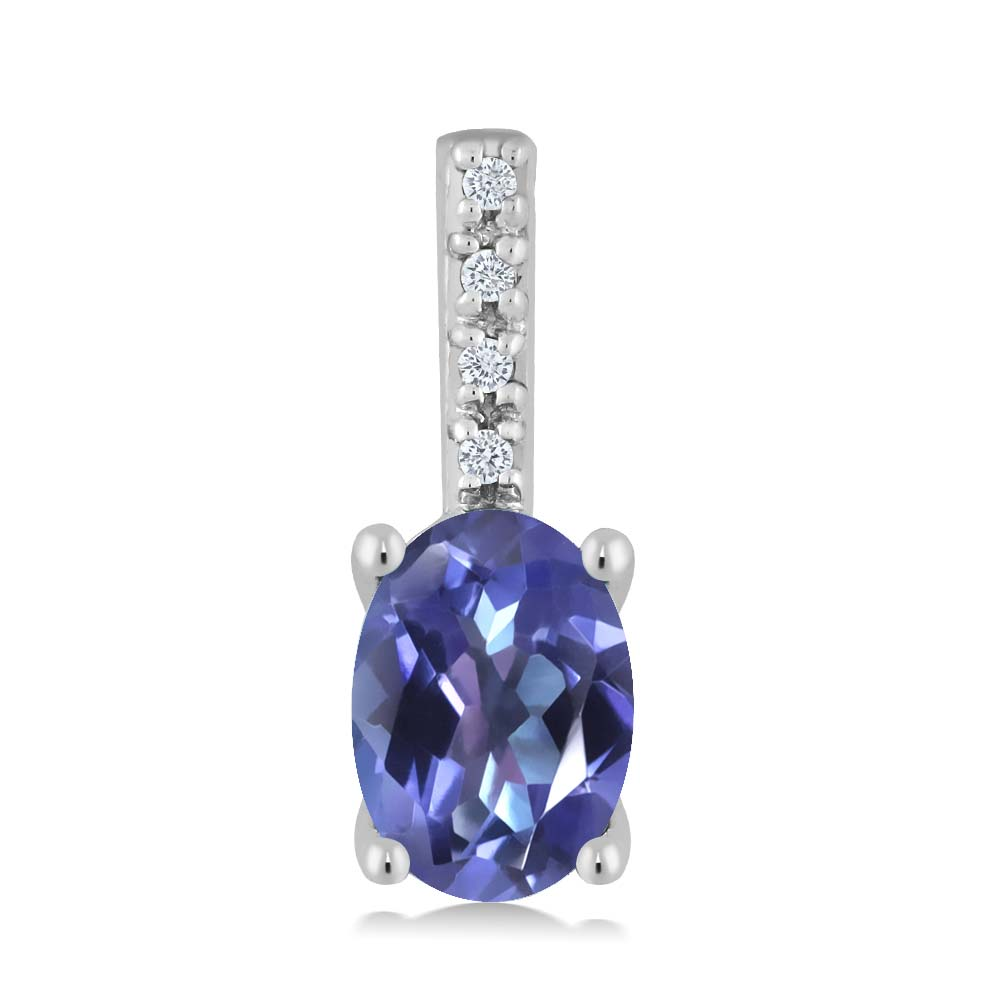 Gem Stone King 0.82カラット 天然ミスティックトパーズ(タンザナイトブルー) 14金 ホワイトゴールド(K14) 天然ダイヤモンド ネックレス ペンダント