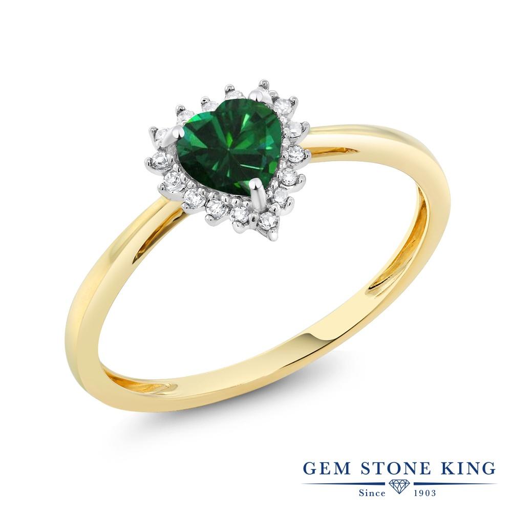 【10%OFF】 Gem Stone King 0.35カラット ナノエメラルド 天然 ダイヤモンド 指輪 リング レディース 10金 Two Toneゴールド K10 小粒 ヘイロー クリスマスプレゼント 女性 彼女 妻 誕生日