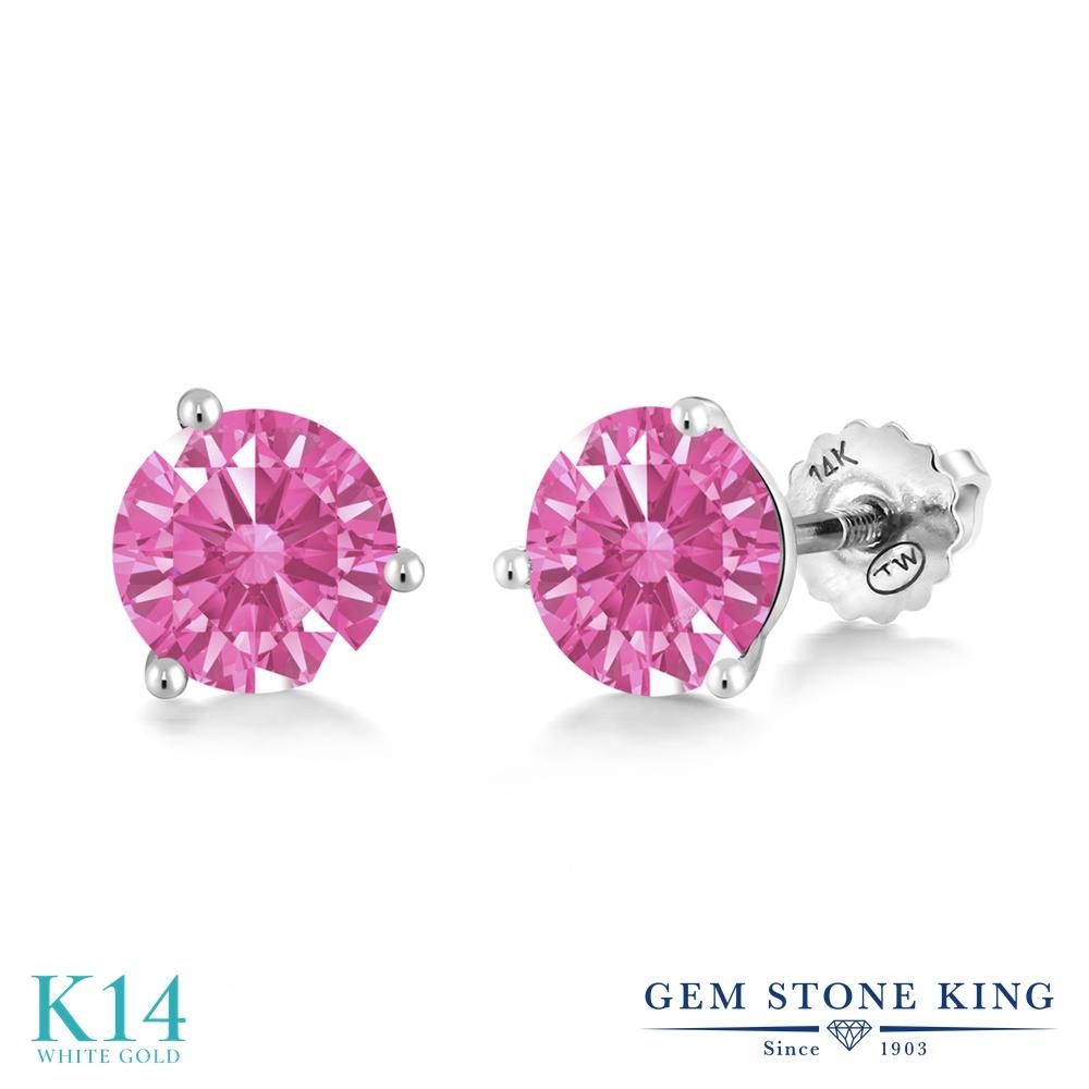 Gem Stone King スワロフスキージルコニア (ピンク) 14金 ホワイトゴールド(K14) ピアス レディース CZ シンプル スタッド スクリュー 金属アレルギー対応 誕生日プレゼント