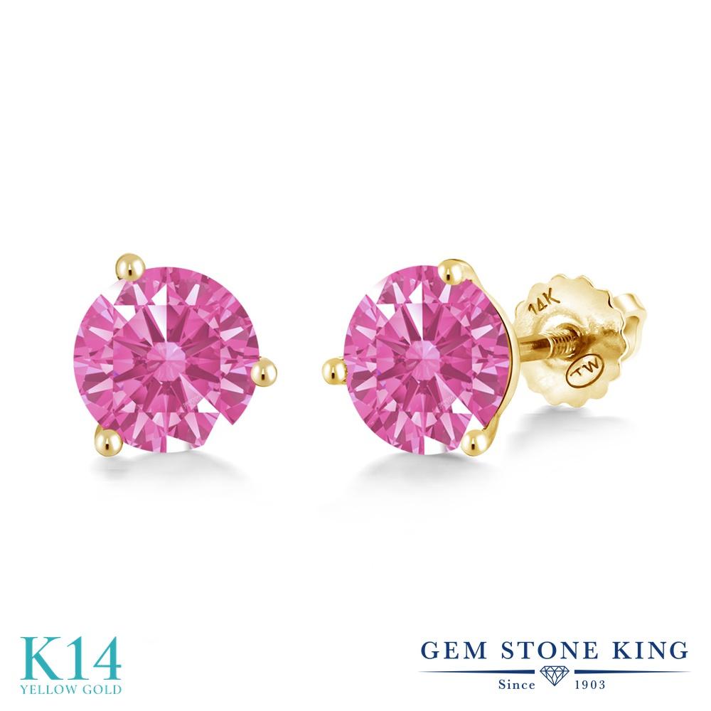 Gem Stone King スワロフスキージルコニア (ピンク) 14金 イエローゴールド(K14) ピアス レディース CZ シンプル スタッド スクリュー 金属アレルギー対応 誕生日プレゼント