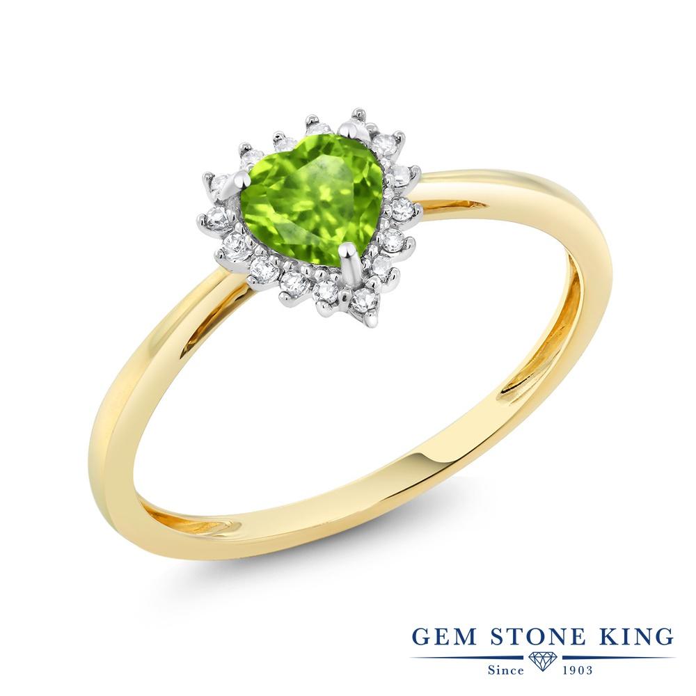 【10%OFF】 Gem Stone King 0.5カラット 天然石 ペリドット 天然 ダイヤモンド 指輪 リング レディース 10金 Two Toneゴールド K10 小粒 ヘイロー 8月 誕生石 クリスマスプレゼント 女性 彼女 妻 誕生日