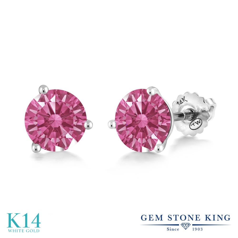 Gem Stone King スワロフスキージルコニア (レッド) 14金 ホワイトゴールド(K14) ピアス レディース CZ シンプル スタッド スクリュー 金属アレルギー対応 誕生日プレゼント