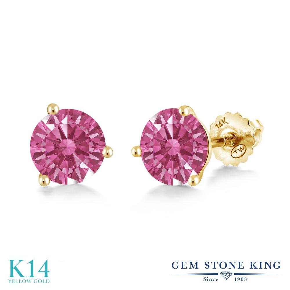 Gem Stone King スワロフスキージルコニア (レッド) 14金 イエローゴールド(K14) ピアス レディース CZ シンプル スタッド スクリュー 金属アレルギー対応 誕生日プレゼント