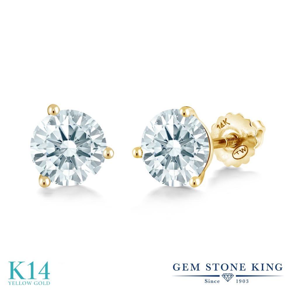Gem Stone King スワロフスキージルコニア (無色透明) 14金 イエローゴールド(K14) ピアス レディース CZ シンプル スタッド スクリュー 金属アレルギー対応 誕生日プレゼント