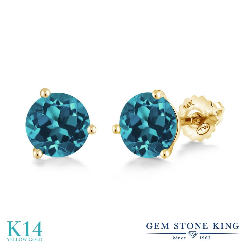 Gem Stone King 1.5カラット 天然 ロンドンブルートパーズ 14金 イエローゴールド(K14) ピアス レディース シンプル スタッド スクリュー 天然石 11月 誕生石 金属アレルギー対応 誕生日プレゼント
