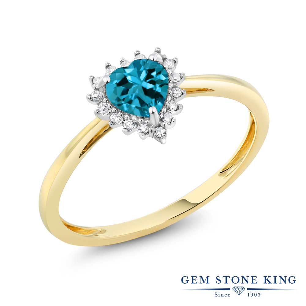 【10%OFF】 Gem Stone King 0.55カラット 天然 ロンドンブルートパーズ ダイヤモンド 指輪 リング レディース 10金 Two Toneゴールド K10 ヘイロー 天然石 11月 誕生石 クリスマスプレゼント 女性 彼女 妻 誕生日