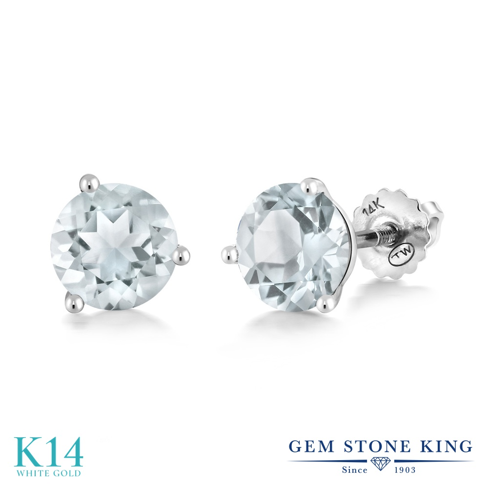 Gem Stone King 1.8カラット 天然 スカイブルートパーズ 14金 ホワイトゴールド(K14) ピアス レディース シンプル スタッド スクリュー 天然石 11月 誕生石 金属アレルギー対応 誕生日プレゼント