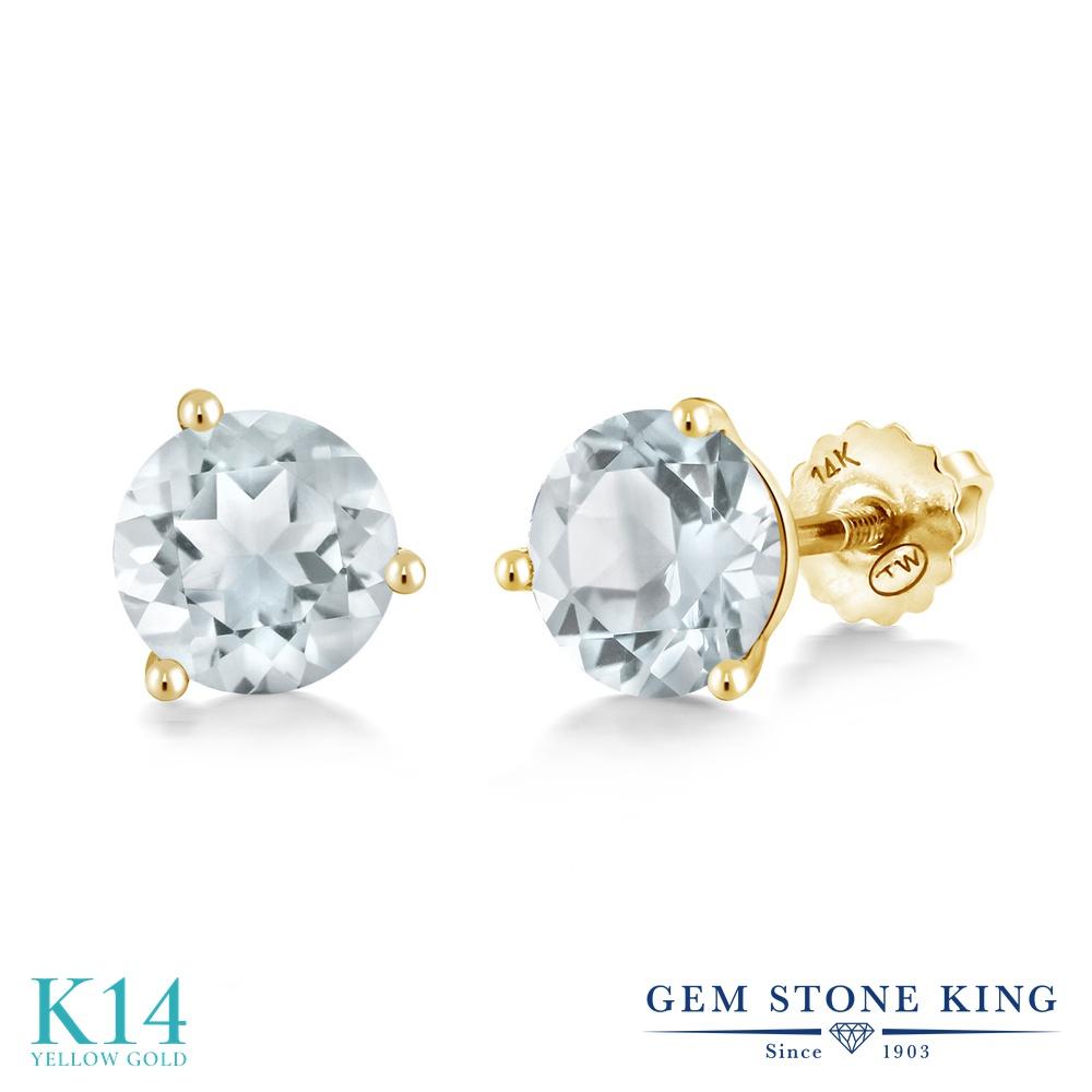Gem Stone King 1.8カラット 天然 スカイブルートパーズ 14金 イエローゴールド(K14) ピアス レディース シンプル スタッド スクリュー 天然石 11月 誕生石 金属アレルギー対応 誕生日プレゼント