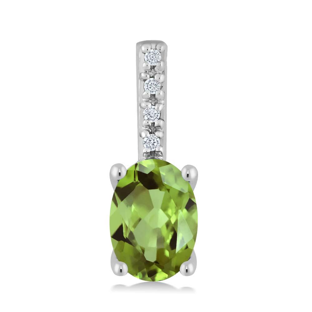 Gem Stone King 0.82カラット 天然石ペリドット 14金 ホワイトゴールド(K14) 天然ダイヤモンド ネックレス ペンダント