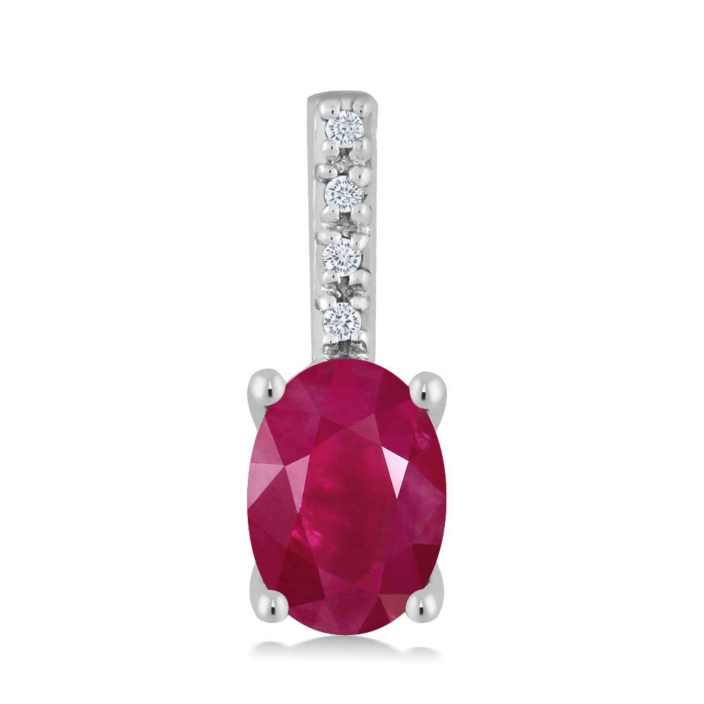 Gem Stone King 1.04カラット 天然ルビー 14金 ホワイトゴールド(K14) 天然ダイヤモンド ネックレス ペンダント 大粒