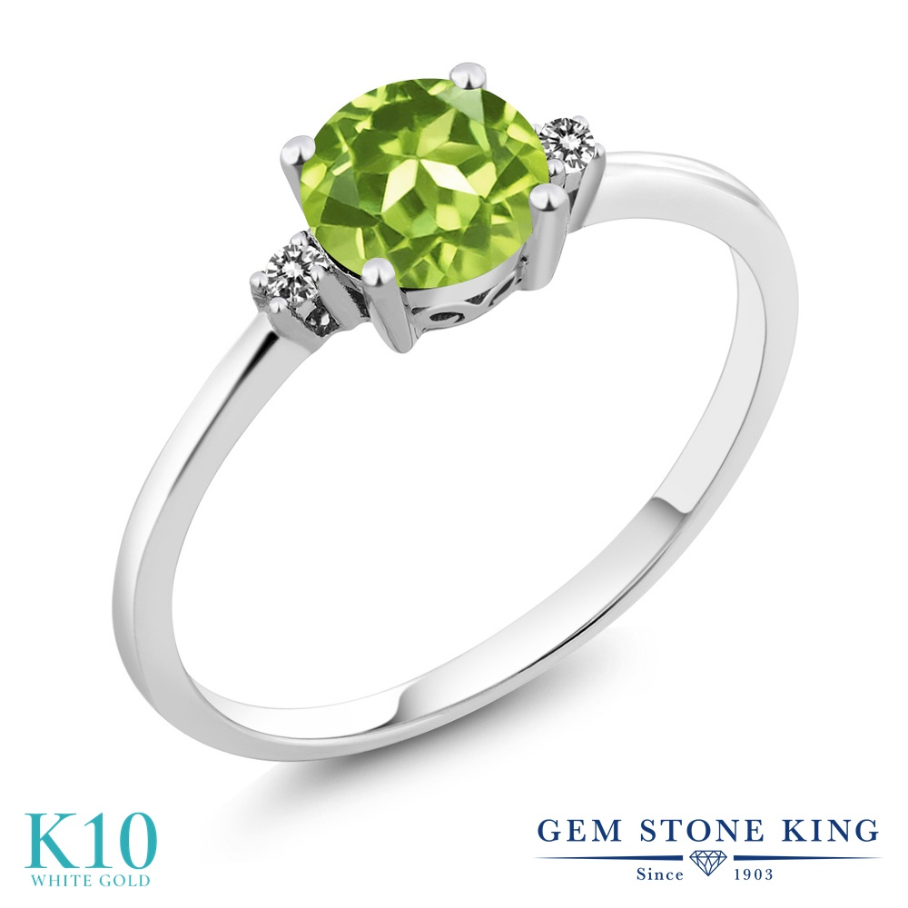 【10%OFF】 Gem Stone King 0.88カラット 天然石 ペリドット 天然 ダイヤモンド 指輪 リング レディース 10金 ホワイトゴールド K10 一粒 シンプル ソリティア 8月 誕生石 婚約指輪 エンゲージリング