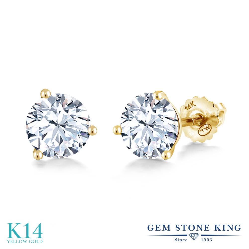 Gem Stone King 2.4カラット 合成ホワイトサファイア (ダイヤのような無色透明) 14金 イエローゴールド(K14) ピアス レディース 大粒 シンプル スタッド スクリュー 金属アレルギー対応 誕生日プレゼント