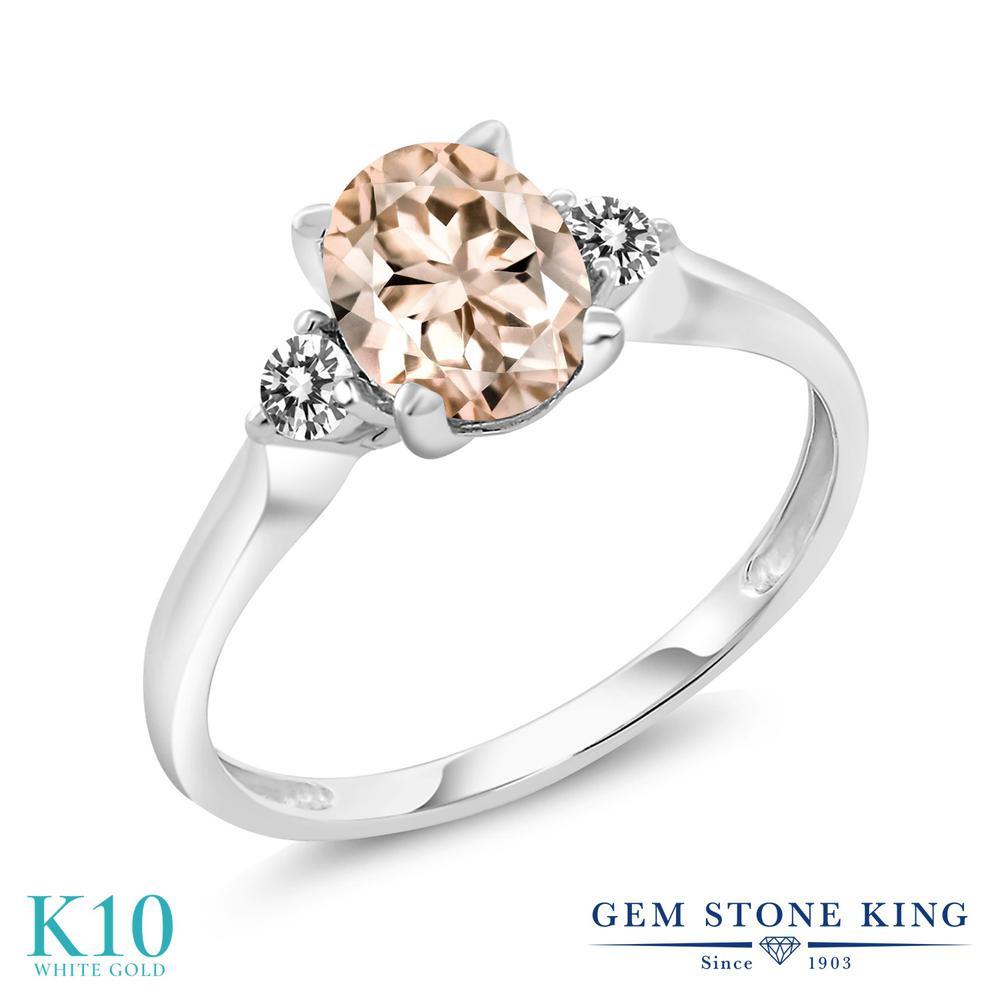Gem Stone King 1.13カラット 天然モルガナイト(ピーチ) 10金 ホワイトゴールド(K10) 天然ダイヤモンド 指輪 リング レディース 大粒 シンプル スリーストーン 天然石 誕生石 金属アレルギー対応 誕生日プレゼント